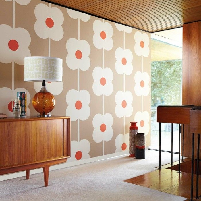 Wohnzimmer Tapeten Ideen Große Blumen Muster | Wanddekoration