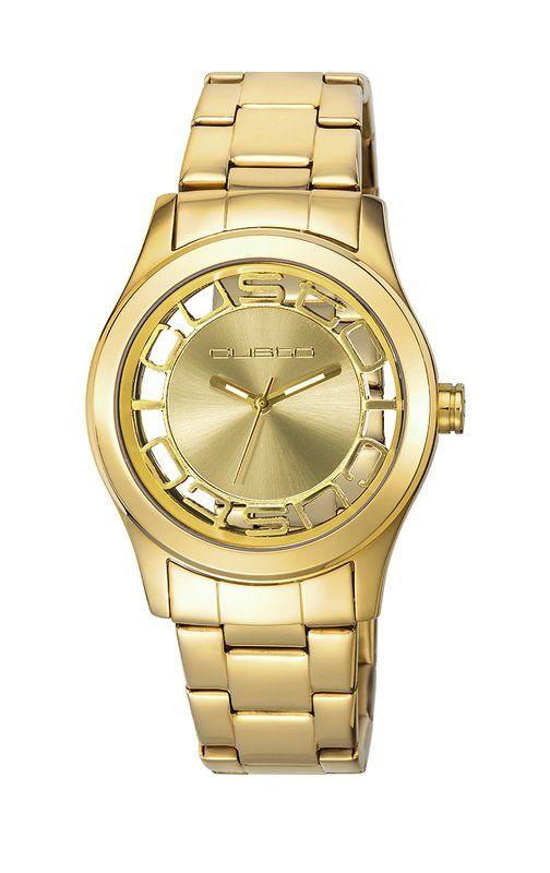 d97d880e0cfb Reloj #Custo CU066201 en dorado, con doble logo; tres agujas ...