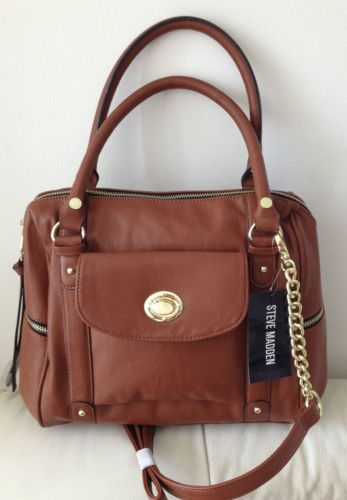 Steve Madden Brown Cognac Satchel Handbag Tote Faux Leather Crossbody Purse