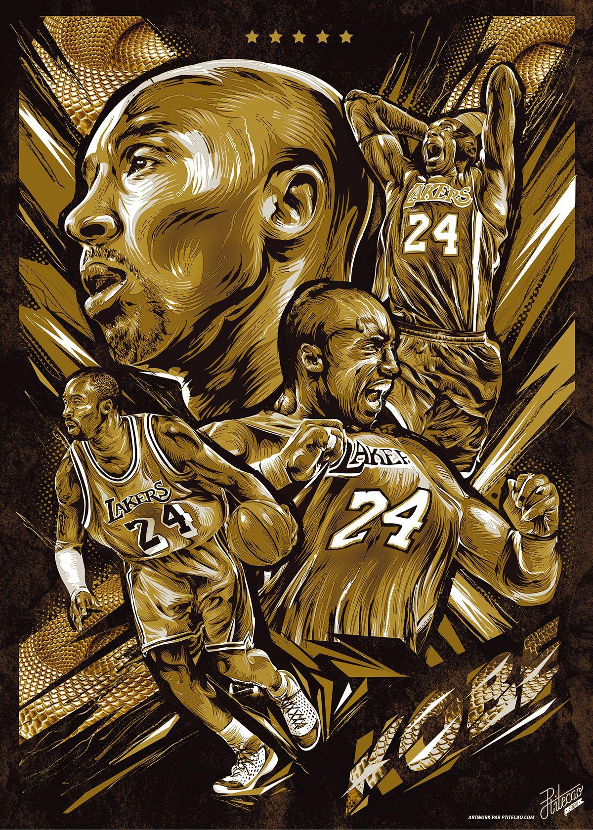 Kobe Bryant Golden Snake Vector Poster Kobe bryant