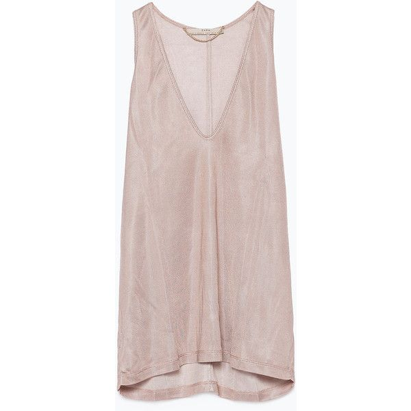 Zara Tank Top (36 BRL) ❤ liked on Polyvore featuring tops, dresses, tanks / cami's, nude pink, pink cami and pink camisole