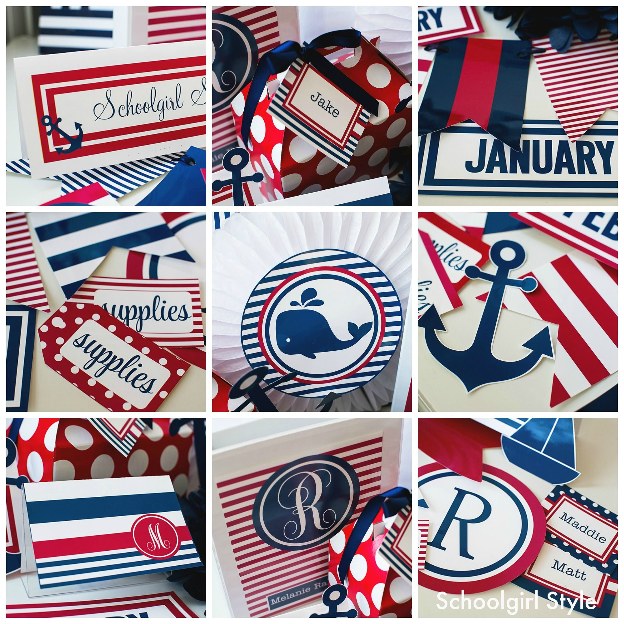 Design Nautical Theme red white blue preppy nautical sailing americana classroom theme decor by schoolgirl style decor