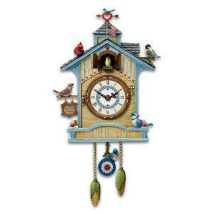 Amazon Com Peep S Place Birdhouse Cuckoo Clock By The Bradford Exchange Home Kitchen Cuckoo Clock Contemporary Cuckoo Clocks Clock