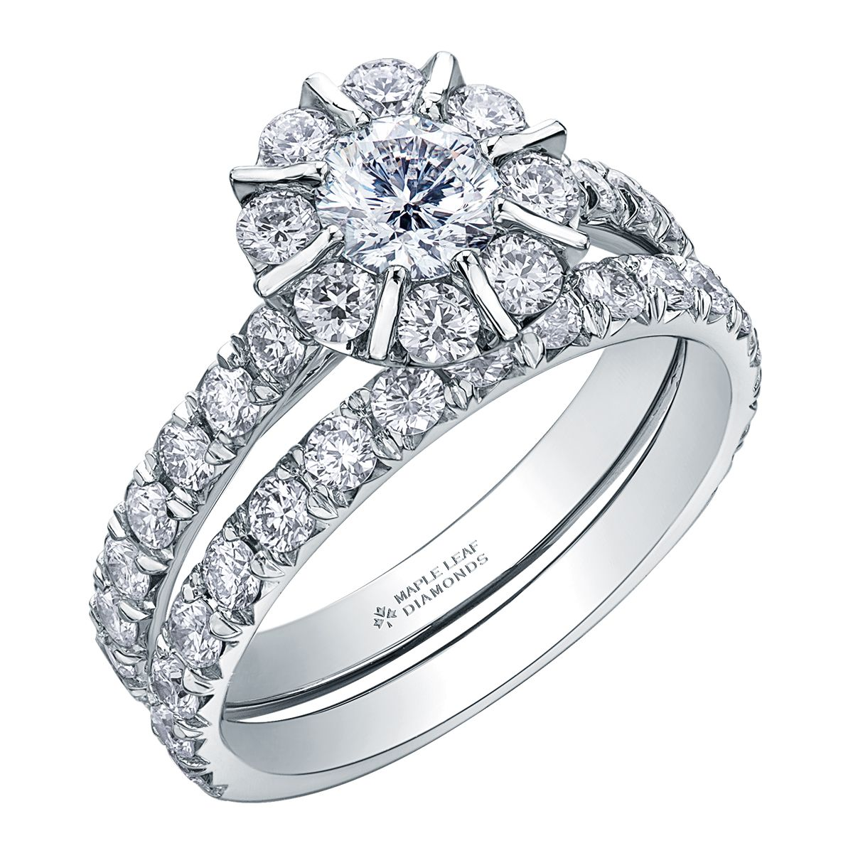 Diamond Halo Diamond Pave Engagement Ring, Wedding Ring