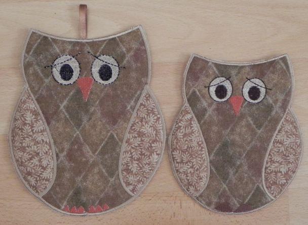 quilted cotton Owl green mug rug retro cute owl coaster blue