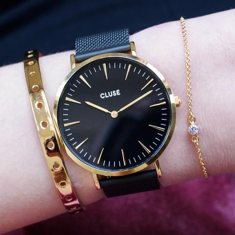 Cluse La Boheme Mesh Gold Black Black Watch Available At Www Modespot Be