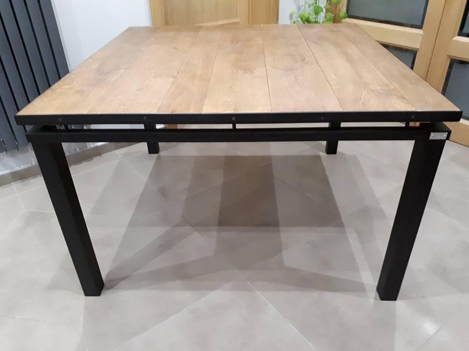 DCIS Design - Table style industriel 120 x 120 cm hauteur 75