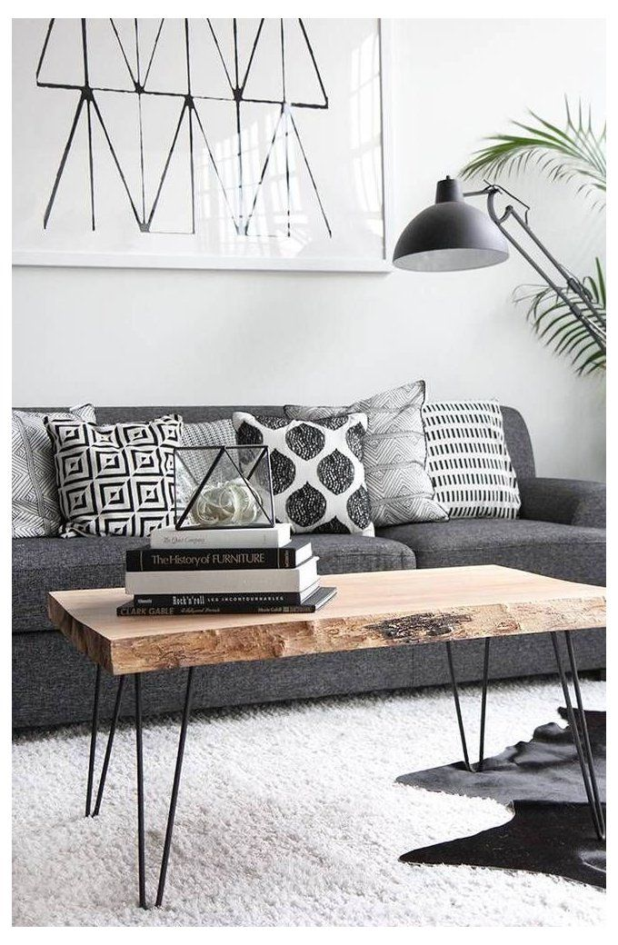 Photo of grey couch wood coffee table