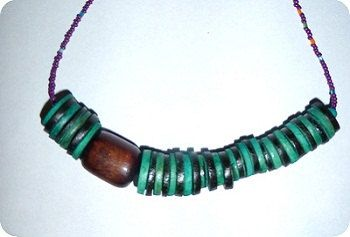 wood funky tribal necklace by KAZAMdesigns on Etsy, £15.95
