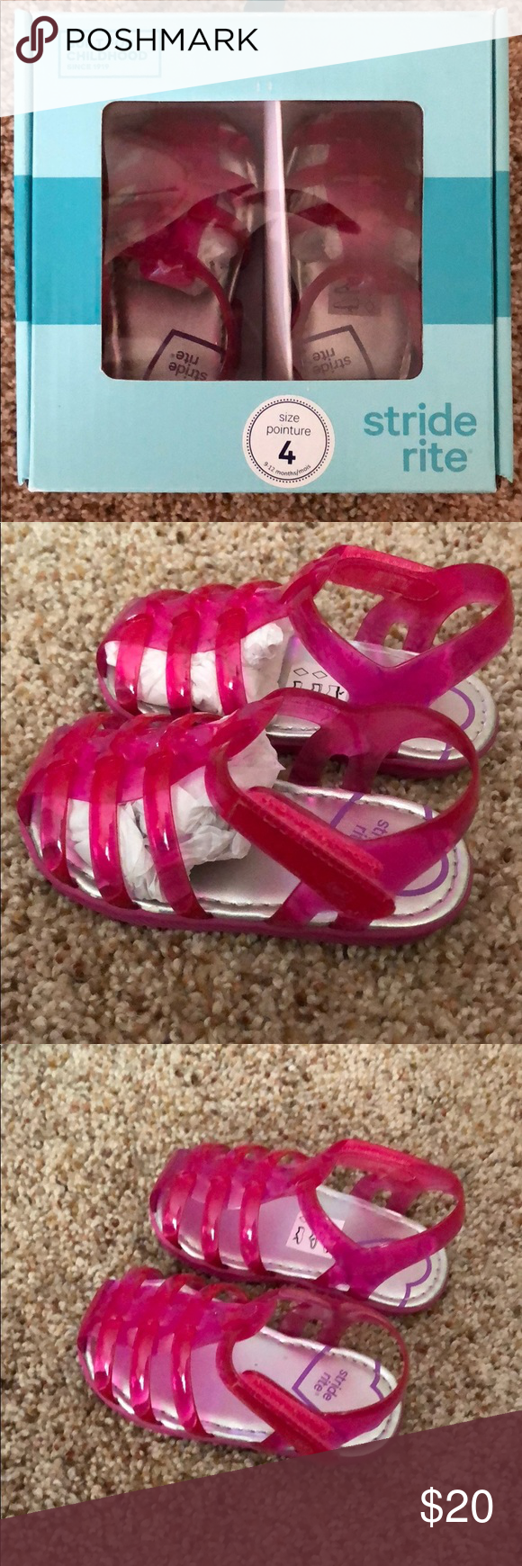9496a2c6dba9 Baby Stride Rite Pink Jelly Sandals Size 4 NIB Baby Stride Rite Pink Jelly  Sandals Size