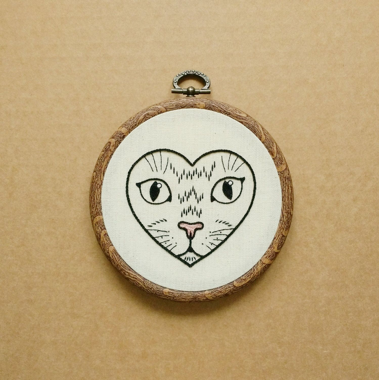 Cat in a Heart Hand Embroidery Hoop Art (modern embroidery wall ...