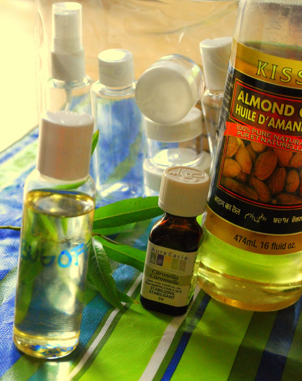 homemade bug repellent almond oil and citronella...I like