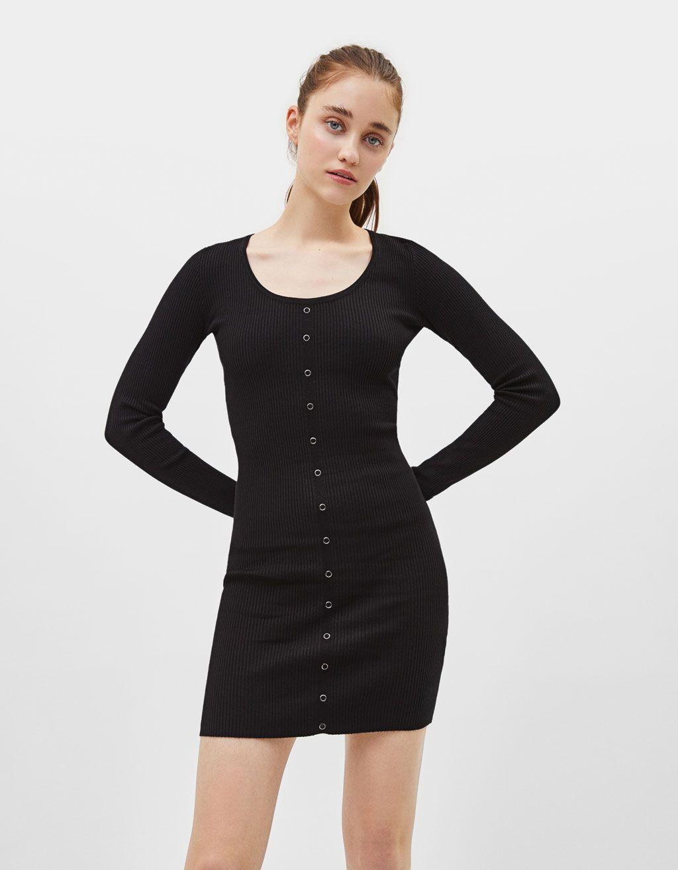 Long Sleeve Snap Button Dress Null Bershka United States Front Knot Dress Button Dress Dresses [ 1313 x 1024 Pixel ]