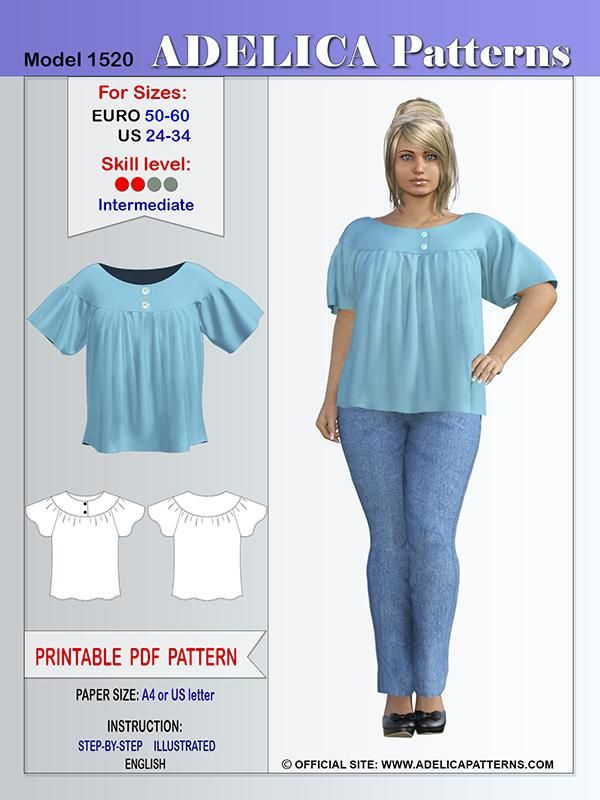 Adelica pattern 1520 Plus size sewing pattern tunic-top