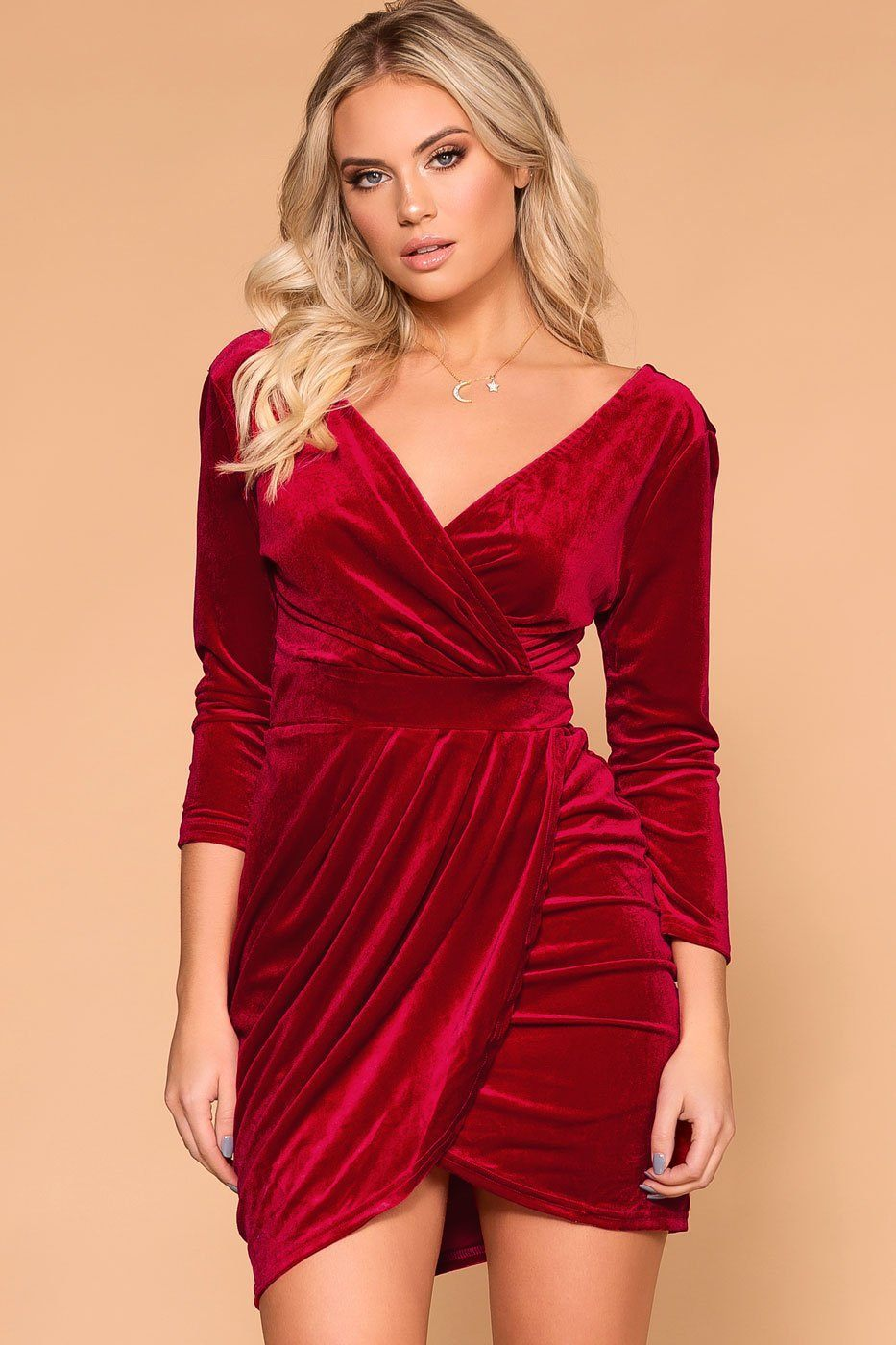 c802ffa4fad Lady Luck Red Velvet Wrap Mini Dress in 2019