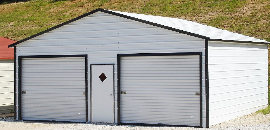 metal garage kits by this 2 car garage is white with black trim perfect. Black Bedroom Furniture Sets. Home Design Ideas