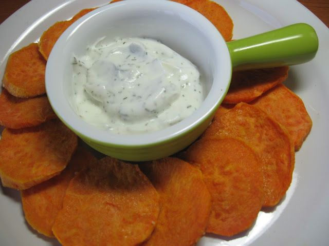 Sweet potatoes, peeled and sliced thin     Toss with olive oil and kosher salt and pepper. Bake on cookie sheet at 400 for 20 minutes. Serve with sour cream mixed with dill.