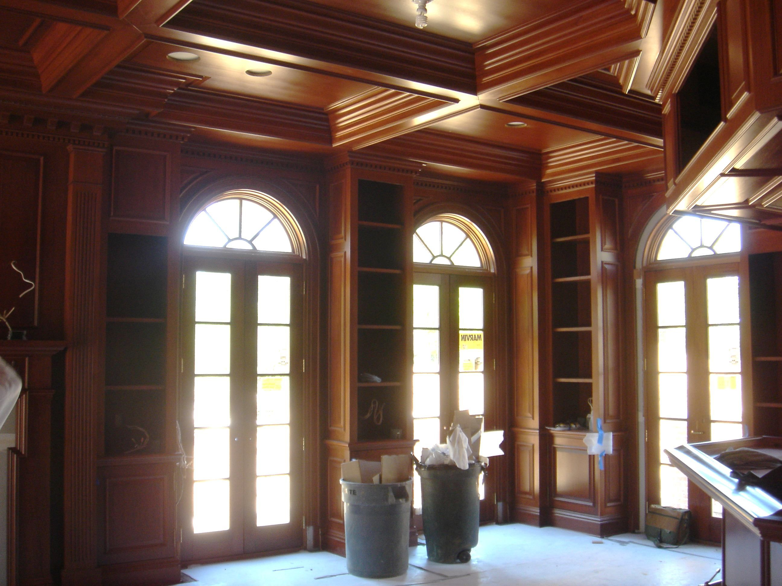 Wood Panels And Coffered Ceiling Library Pinterest