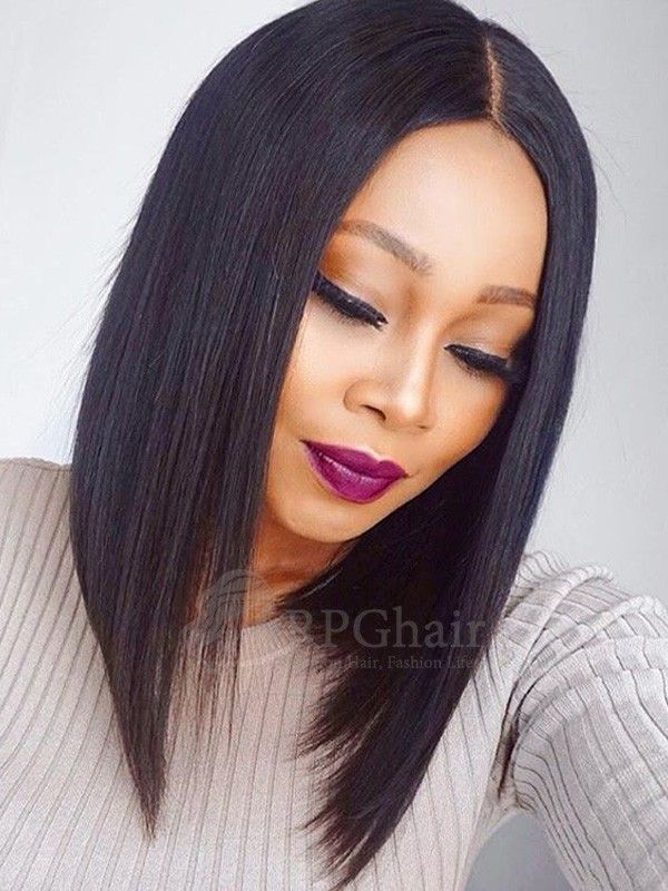 Yaki Bob Hair Style With 150 Density Indain Remy Hair Glueless Lace Wigs Front Lace Wigs Human Hair Hair Styles Long Bob Hairstyles