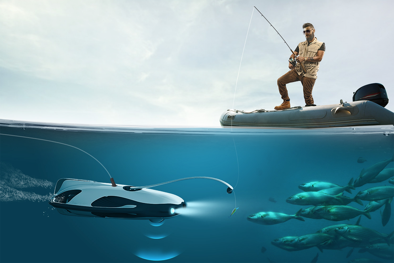 The New Powerray Underwater Drone From Powervision Can Dive To 98 Feet Take Live High Quality Video And Be Equipped With Son Underwater Drone Underwater Drone