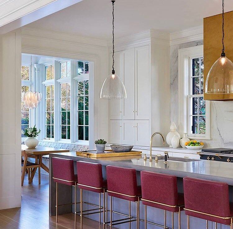 We love how this kitchen incorporated color...and enough bar height seating for the whole family!  Design: @banksdevelopment • • • • #interior #interiors #kitchen #kitchendesign #popofcolor #banksdevelopment #architecture #barstools #homedesign #style #interiordesign #interiordesigner #luxury #homedesign #design #instadecor #decor #interiorinspiration #designinspiration