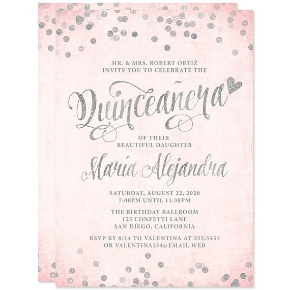 blush pink silver quinceanera invitations diy printable quinceanera invitations digital glitter