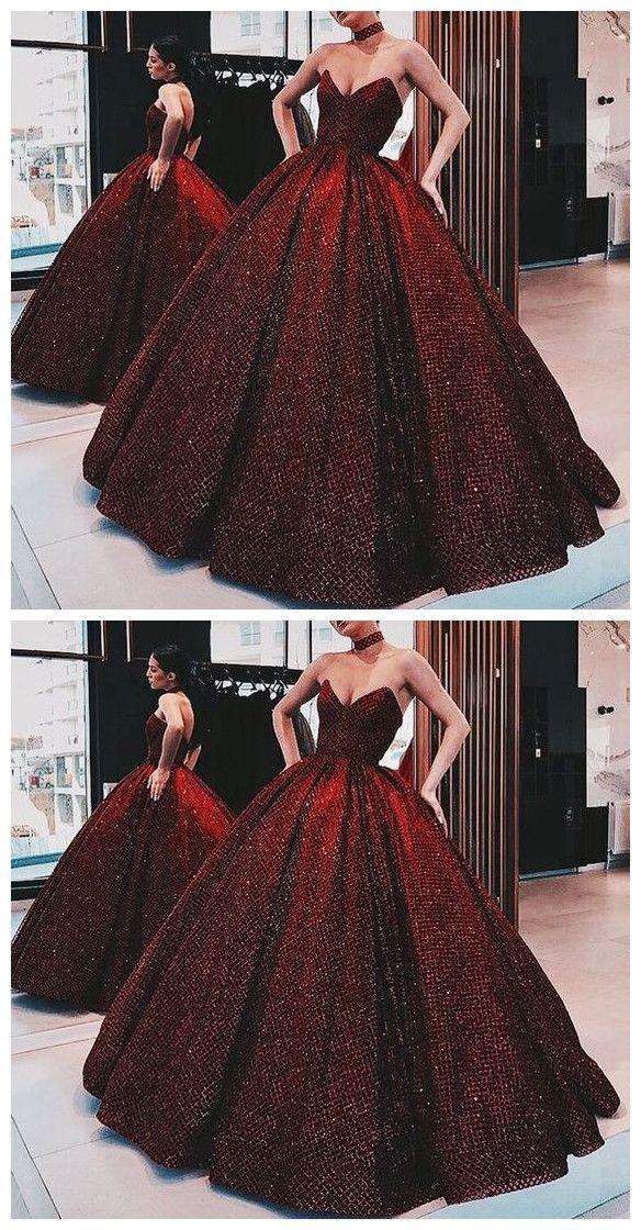 Photo of Ballkleid Weinrot Pailletten bodenlangen Kleid Burgund Quinceanera Sweet 16 Kleid …