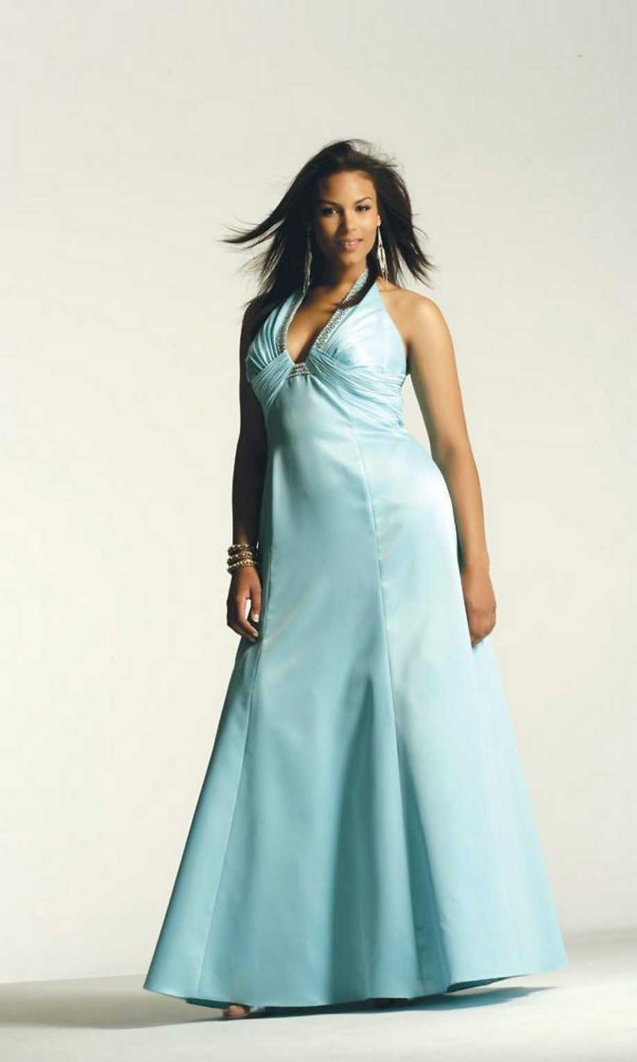 Blue plus size wedding dresses  Beaded Bridal Satin Halter Gown V Neck Ruched Beaded Blue Designer