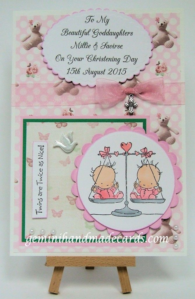 Baptism Card Personalised Handmade Christening Girl or Twins Boy