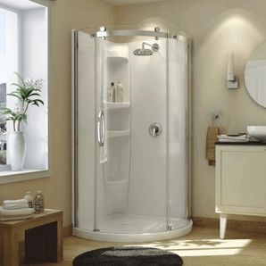 Olympia Round Left Hand Shower Door and White Base with ...