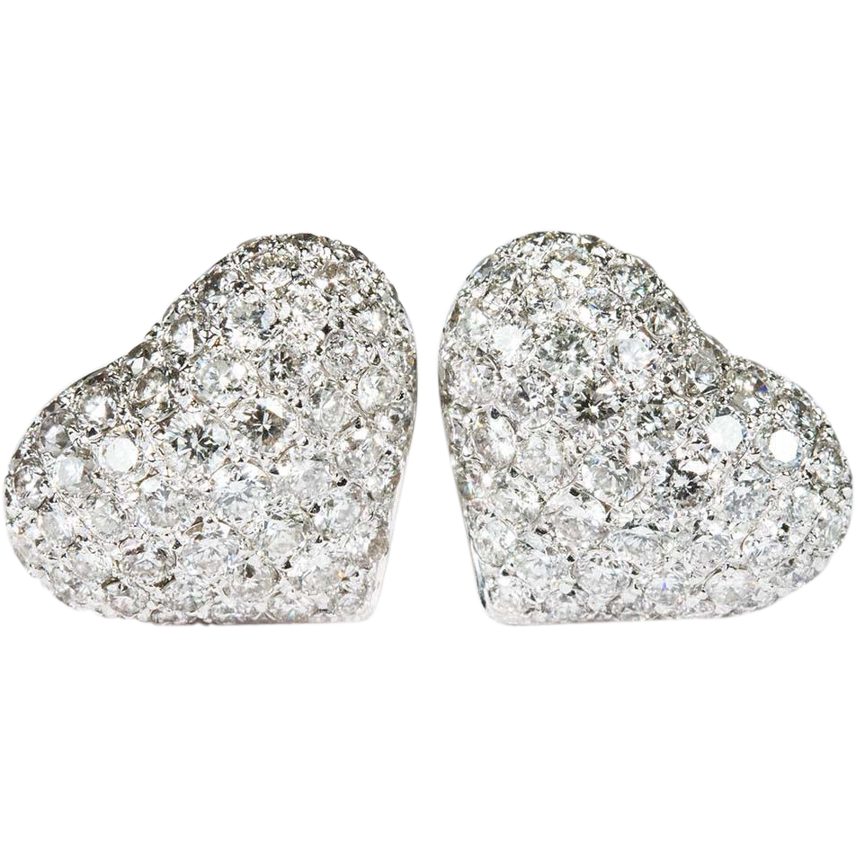 2 80ctw Heart Diamond Stud Earrings 585 14k White Gold Pierced Pave Studs