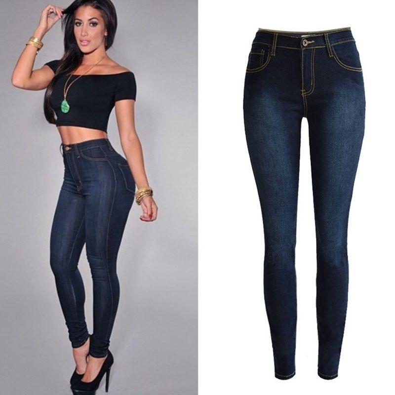 a36a40464 Calça Jeans Azul Escuro Elastica Cintura Alta
