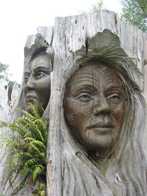 'Carvings of Maori'. Maori carvings are generally done to adorn traditional Maori buildings. New Zealand
