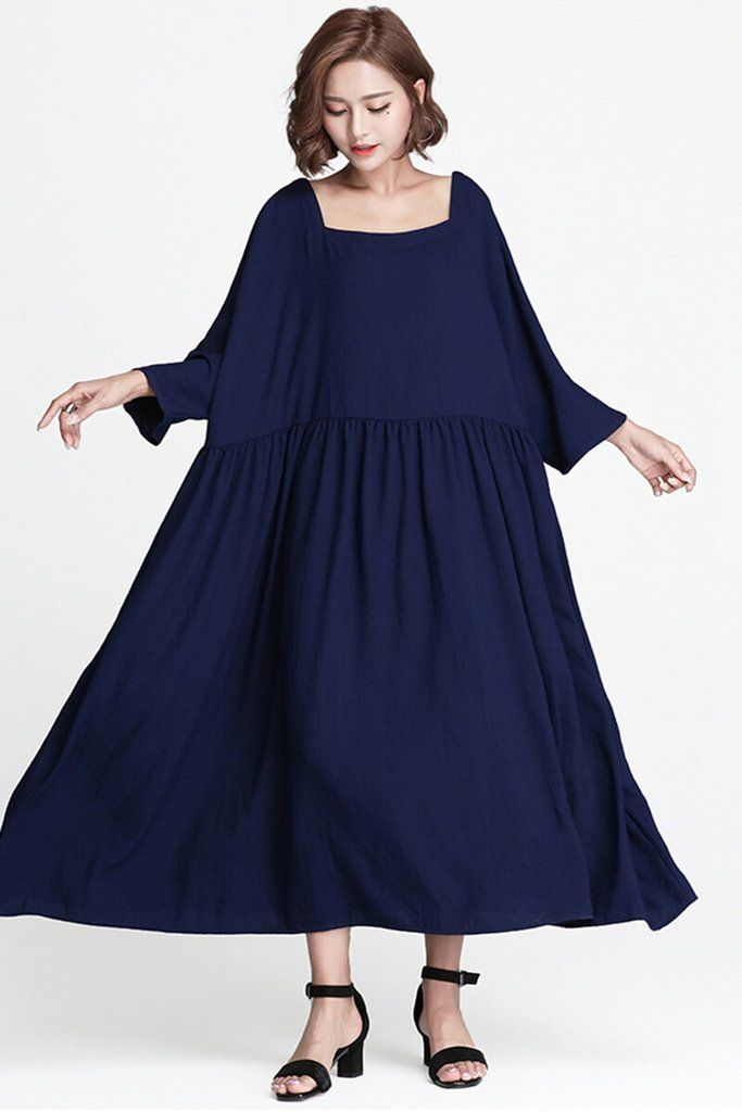 5fb84da0871c2 Blue Plus Size Loose Long Casual Cotton Dress Women Clothes | Cotton ...