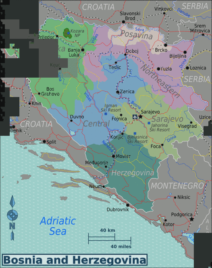 Karte Montenegro Kroatien.Bosnia Herzegovina Europe Srbija Bosnien Und