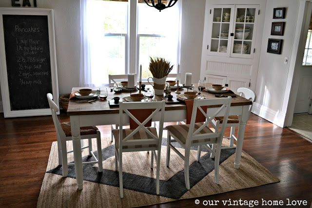 Autumn Table Decor And A Vintage Industrial Table With Images Rug Under Dining Table Dining Rug Dining Table Rug