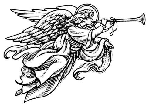 Angel religious. Christmas clip art black