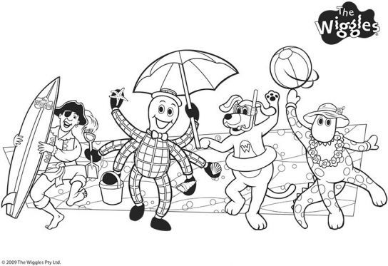 wiggles coloring pages - wiggly beach friends the wiggles coloring pages pbs
