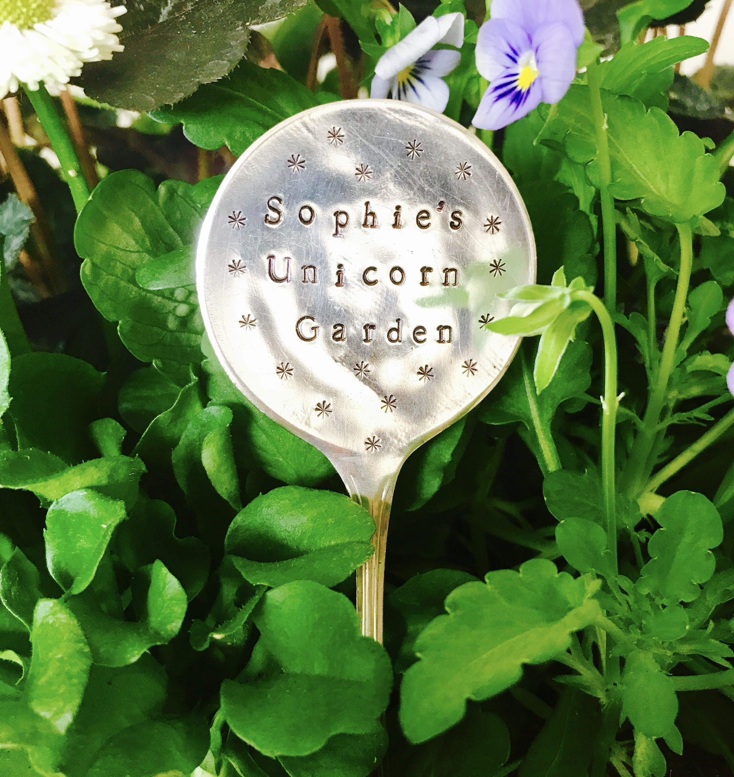 Child S Personalised Unicorn Garden Plant Marker Upcycled Spoon