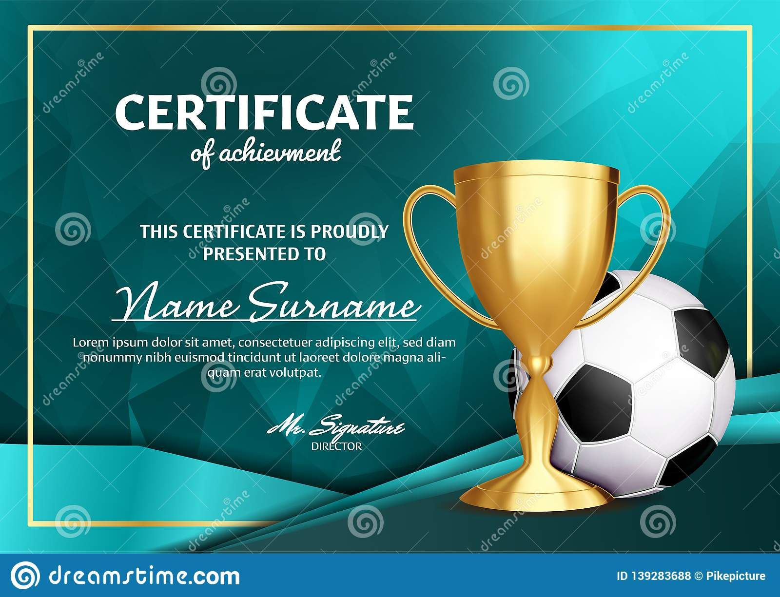 Soccer Certificate Diploma With Golden Cup Vector Football Throughout Soccer Certificate Temp Soccer Awards Certificate Templates Awards Certificates Template Free soccer certificate templates for word