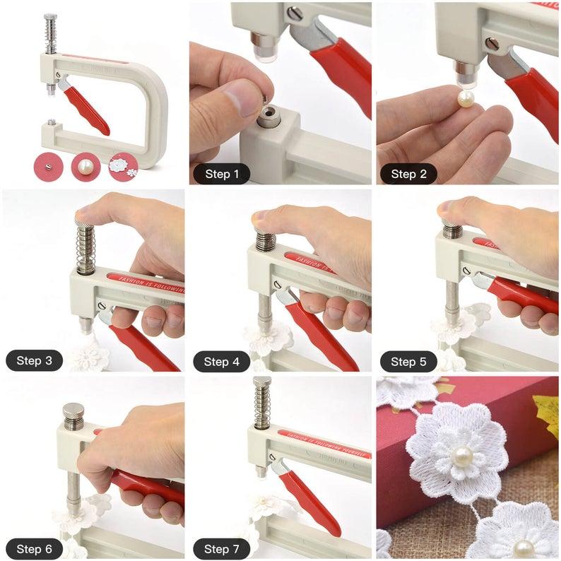 Small Ring Press Studs Setting Tool Pearl Beads Snap Rivets Setters Set DIY