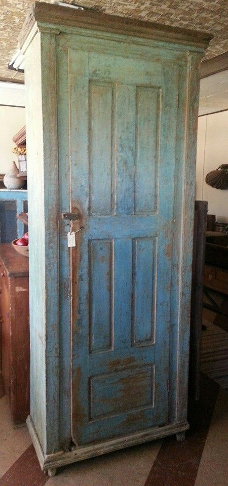 Greathouse Of Country~chimney Cupboard In Blue:) Kim Groothius Shop In  Casey, Il
