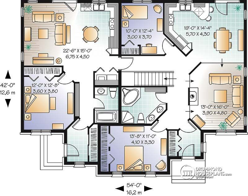 Multi family plan W3040 detail from