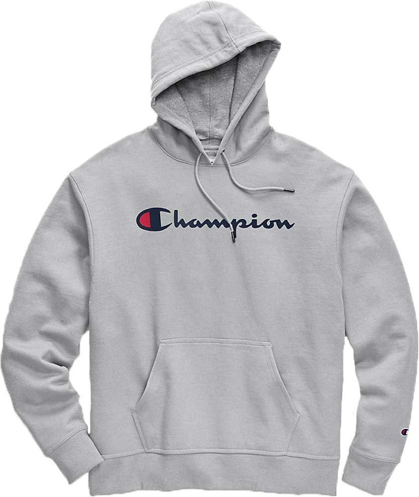 Champion Men's Powerblend Script Graphic Hoodie, Gray #championhoodie