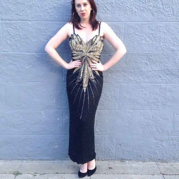 Evening dress 1980s Sequined and beaded evening dress. Gold starburst in front and back. Spaghetti strap. This is a stunning statement piece. My Fashion Dresses Maxi