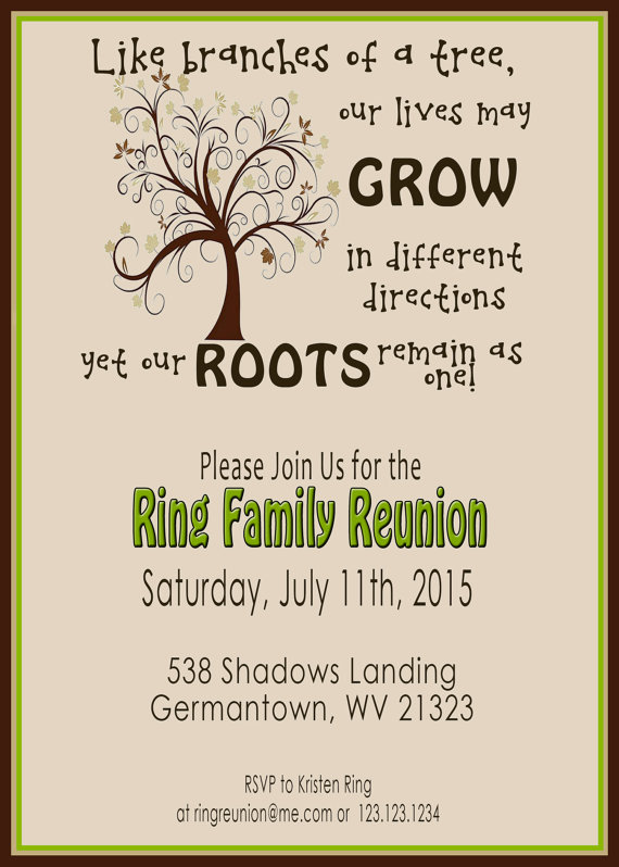 Charming Family Reunion Invite   Swirly Tree   PRINTABLE DIGITAL INVITATION With Family Reunion Invitation Cards