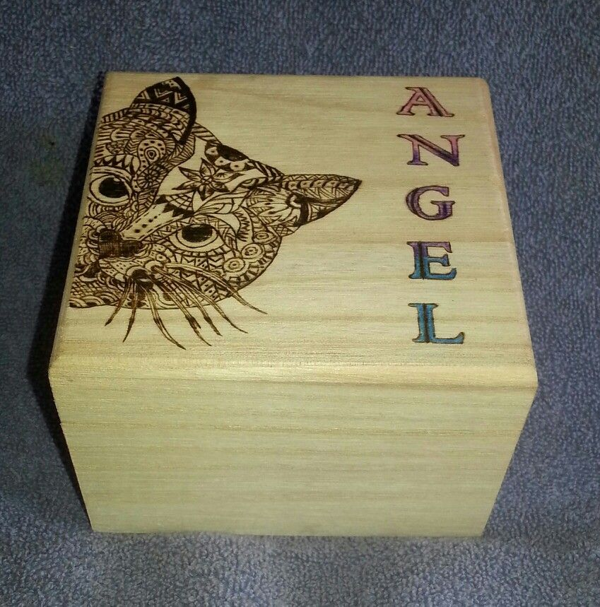Zen Kitty Trinket Box. Pyrography and colored pencil. ~SOLD~ by ...