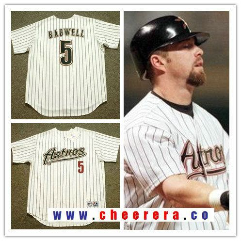 save off c19a7 6017a Men's Houston Astros #5 Jeff Bagwell White Pinstripe 2001 ...