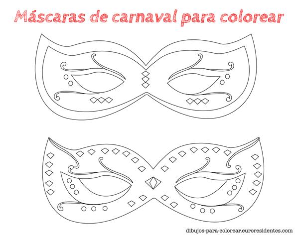 6 máscaras de Carnaval para colorear | Disfraces caseros