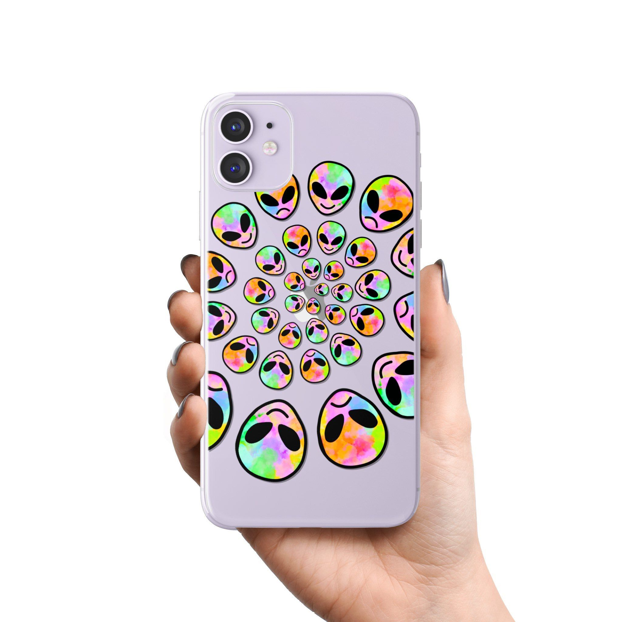Aesthetic Alien Clear Phone Case For iPhone 11 Pro Max